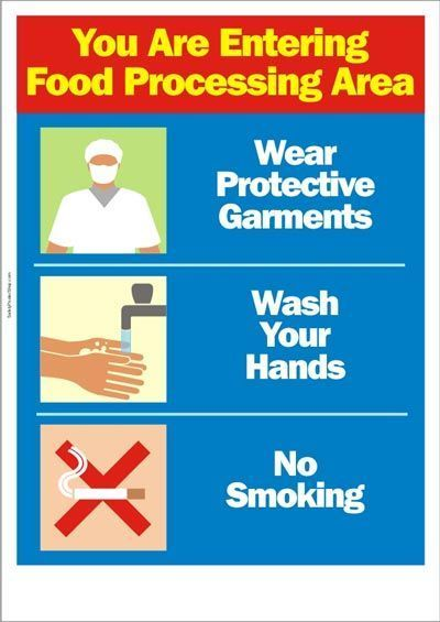 Food Processing Area Warning In 2020 Food Safety And Sanitation Food Safety Posters Health And Safety Poster
