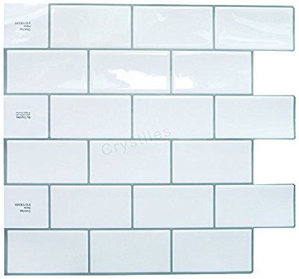 Amazon Com Crystiles Peel And Stick Self Adhesive Diy Backsplash Stick On Vinyl Wall Tiles For Kitchen And Bathroom Vinyl Wall Tiles Diy Backsplash Wall Tiles
