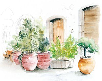 Pot En Gres Aquarelle Peindre Une Aquarelle Aquarelle Pots De