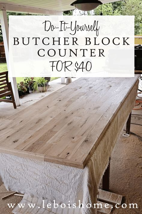 How to build your own wood butcher block counter for less than 40 Diy Kitchen Remodel, Kitchen Redo, Kitchen Ideas, Kitchen Makeovers, Kitchen Backsplash, Kitchen Island Countertop Ideas, Pallet Countertop, Concrete Kitchen Countertops, Painting Bathroom Countertops