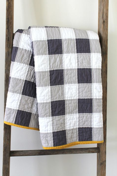 Gingham patchwork quilt -- fun idea to create the gingham plaid using solids. I like the mustard-colored binding!