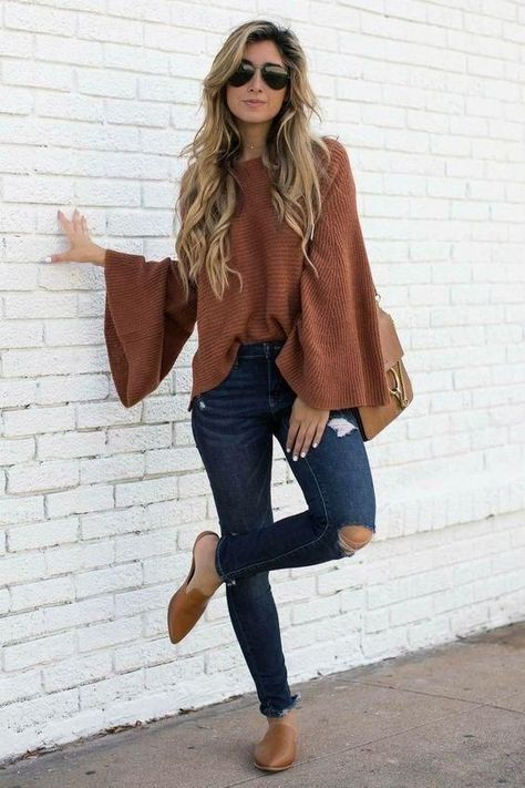 Brown Bell Sleeve Loose Knit Sweater | Casual summer outfits, Fall outfits, Fashion