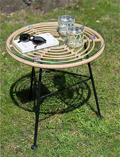 Beistelltisch Aus Rattan Und Metall Tischplatte Rund Beistelltisch Tisch
