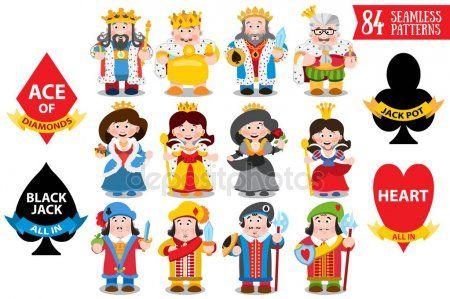 Padrao Com Desenhos Animados Reis E Rainhas Eva Desenhos