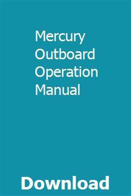 Mercury Outboard Operation Manual Installation Manual Generator Installation Onan