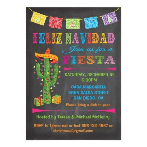 Feliz Navidad Fiesta Cactus On Chalkboard Invitation Event