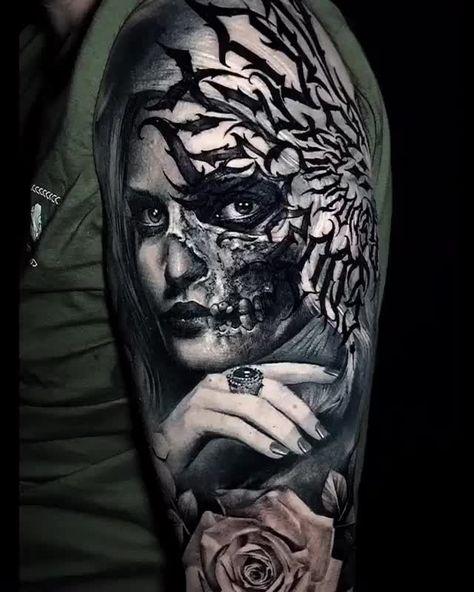 Woman & Skull Artist: @zombiejambula @ferry.rockink @ukix_asmirantika ——————————————————————— ⚜️FOLLOW⚜️ @skingiants for daily tattoos! Sharing only the best tattoos Artists on instagram —————————————————————— #realismtattoo #blackandgreytattoo #skingiants #tattooist #tattoolove #tattooed #tattoosleeve #tattoodesign #tattoolover #tattooworld #tattoosofinstagram #tattoolovers #tattooarm #inked #tat #tats