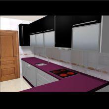 Cocina negra y púrpura