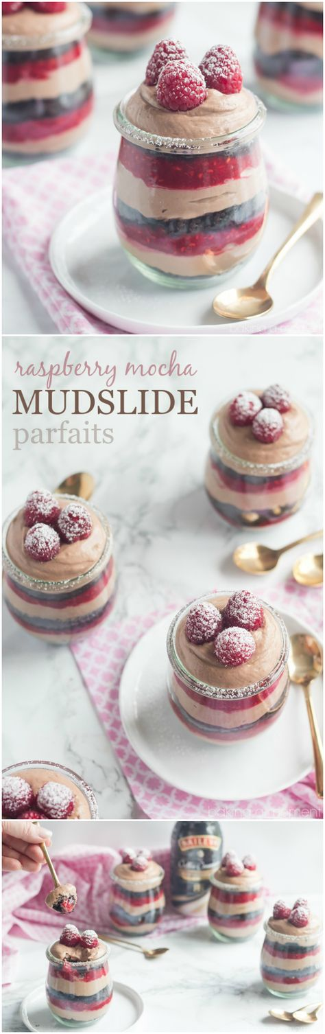 Raspberry Mocha Mudslide Parfait- whips up in a flash but it's so impressive! So much incredible rich flavor! #myBAILEYScreamers #ad ~ http://bakingamoment.com
