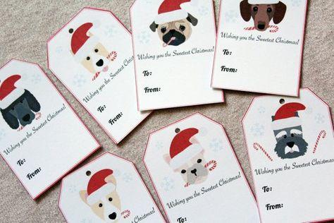 10 Dog Christmas Gift Tags, Dog Holiday Tags, Dog Christmas Tags, Dog Rescue Party Tags, Pug Christm