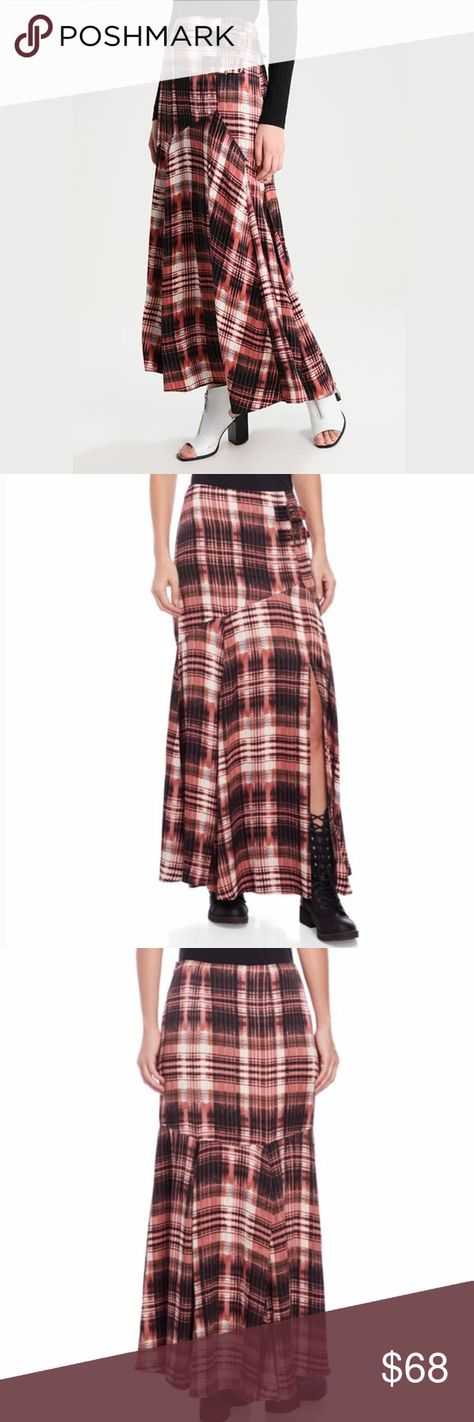 Free People Season of the Wind Maxi Plaid Skirt Free People Season of the Wind Plaid Midi Maxi Skirt NWT | New With Tags  Details  Color Code: Silky plaid midi maxi skirt featured in an A-line silhouette. Pinkish red Salmon with black and white and a touch of blue. Adjustable buckle detailing on the waist  Exaggerated slit  Hidden side zip closure  Lined with a half-slip  Care/Import Machine Wash Cold Import Free People Skirts Maxi