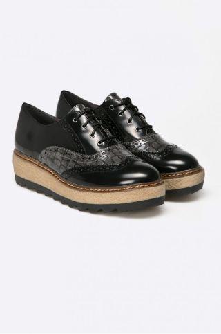 Pantofi Oxford cu talpa groasa dama din piele lacuita