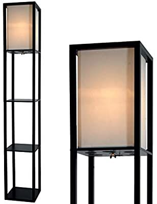 Floor Lamp With Shelves By Light Accents Shelf Floor Lamp 3 Shelf Lamp Standing Floor Lamp W In 2020 Floor Lamp With Shelves Linen Lamp Shades Floor Standing Lamps