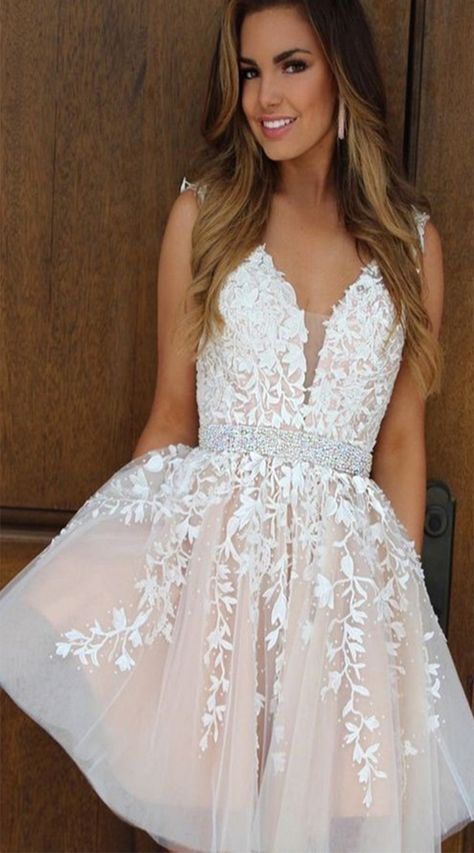 2019 New Homecoming Dresses V Neck A Line ShortMini Tulle