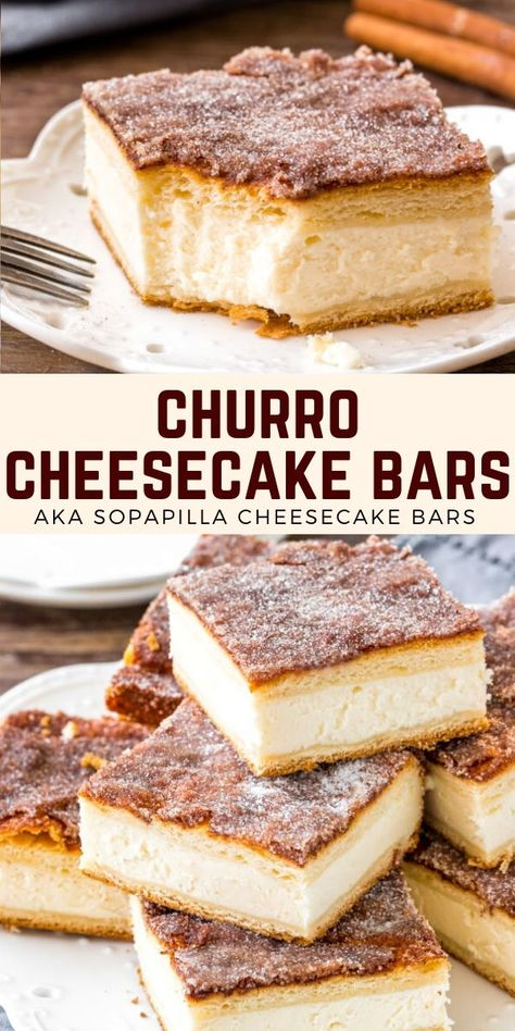 Creamy cheesecake is surrounded by layers of flaky pastry and delicious cinnamon sugar. These easy churro cheesecake bars (AKA sopapilla cheesecake) just might be the best cheesecake you've ever tried! #cheesecake #churro #cinnamonsugar #crescentdough #sopapilla #recipe #cheesecakebars #cheesecake from Just So Tasty