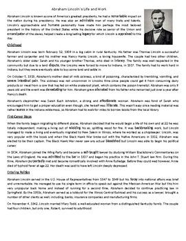 Abraham Lincoln S Life And Work Reading Comprehension Worksheet
