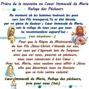 Neuvaine Du Cœur Immacule De Marie Priere Vierge Marie Priere Priere De Protection