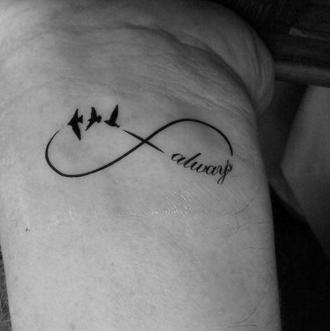 Wrist Tattoo Temporary Infinity Birds Always Forever Love | Etsy
