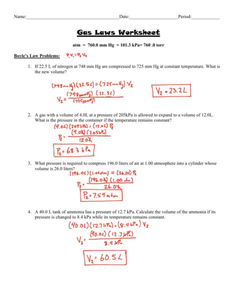 7 Chemistry Gas Laws Worksheet With Work Shown Check More At