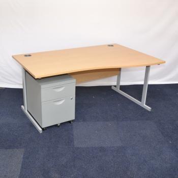 Light Oak 1600x1000 Wave Desk Used Office Furniture For Uk