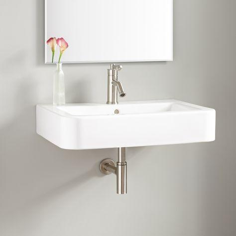 26 Burleson Porcelain Wall Mount Sink 224 W Chrome Drain Pop Up