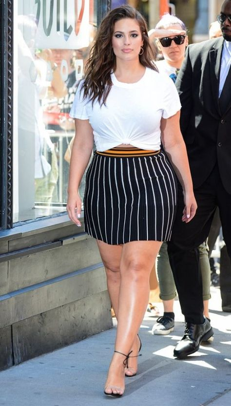 Okay, This Is How to Wear a White T-Shirt, Miniskirt, and Naked Shoes via Ashley Graham