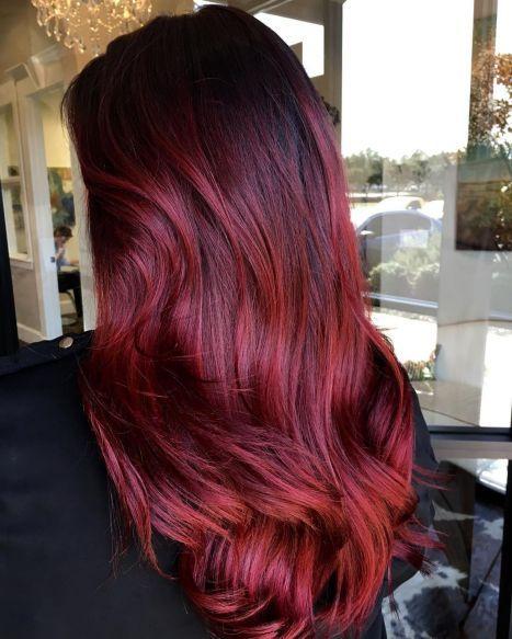Bright Burgundy Balayage Hair Burgundy Hair Hair Color Burgundy Burgundy Balayage