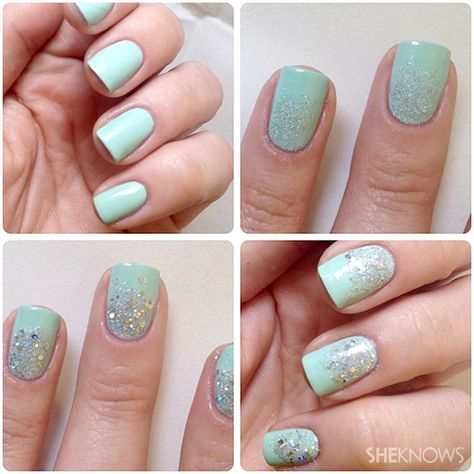 Glitter gradient nails -- step by step