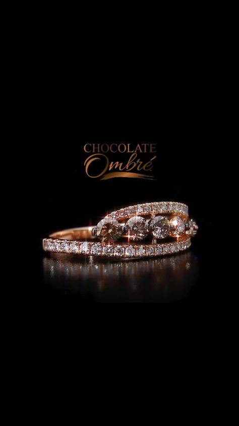 Chocolate Ombré™ Ring in 14K Strawberry Gold® with Vanilla Diamonds®   My wedding ring i think it looks like a tiara