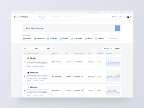 Hi Dribbblers! I visit the website www.coinmarketcap.com often. I check the rates and learn more about currencies. At some point, I decided to redesign the website, for fun. I organized some in...