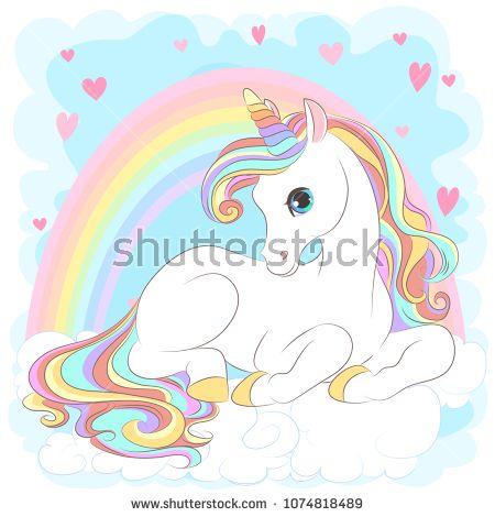 White Unicorn With Rainbow Hair Vector Illustration For Children