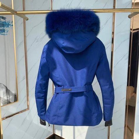 High Quality Women Down Jackets 3 Colors Large Fox Fur Collar Black Ski Down Coats Female Winter Fashion Clothes - Blue / 2 --L / China