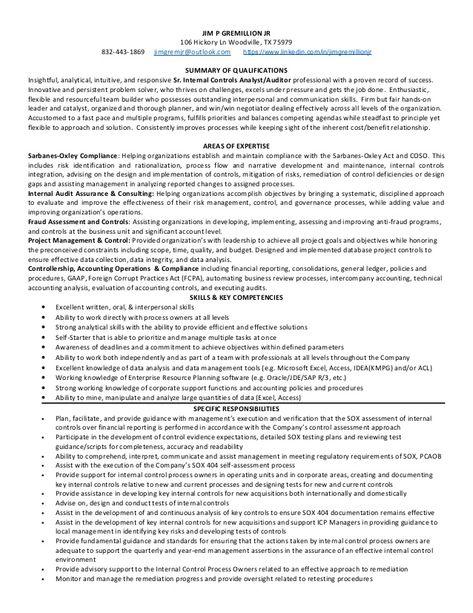 senior internal controls analyst auditor houston tx resume - sample audit resume
