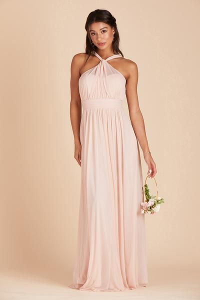 701489f3af Shop Birdy Grey Kiko bridesmaid dress in Pale Blush for under  100. The  blush pink bridesmaid dress features a softly ruched halter