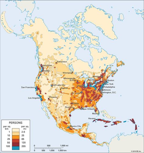 Population Density Map Of North America.Population Density Of North America Facts Pinterest America