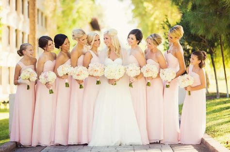 Beautiful light pink bridesmaids dresses. - Photo by: www.trevordayley.com