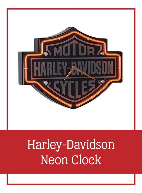 Harley-Davidson Neon Clock | The modern gift for the 1st anniversary is clocks | This clock features the classic Bar & Shield logo design accented with orange neon | #anniversarygifts #1stanniversary #firstanniversary #gifts #clockgifts #modernanniversarygifts #giftsforhim #giftsforcouples