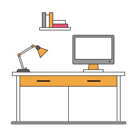 Computer With Decorative Desk And Table Decorative Desk Desktop Png And Vector With Transparent Background For Free Download Desk Decor Desk Decor