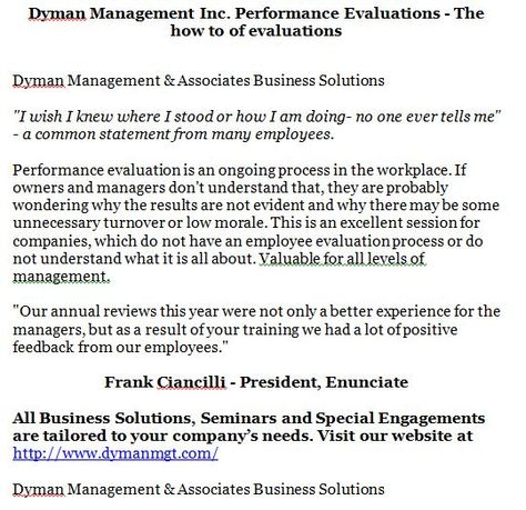 Dyman Management Inc Performance Evaluations - The how to of - employee evaluations