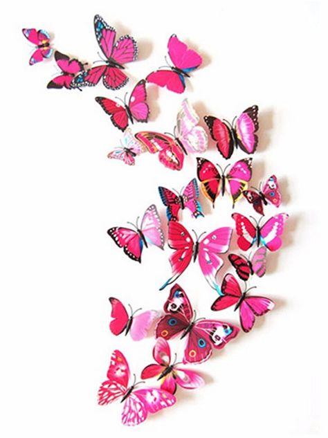 3d Muurdecoratie Kinderkamer.Kleurrijke 3d Vlinders Roze Slechts 4 50 Muurstickers