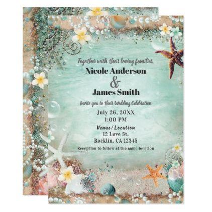 Elegant Beach Sea Starfish Pearls Beachy Wedding Invitation