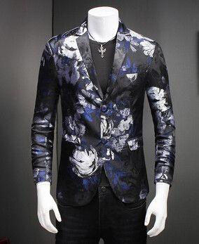 42d4de9c27 New Designs Men's Floral Blazer Jacket Men Dress Slim Fit Man Suit Stage  Costumes For Singers Male Coat Red Casual Mens Blazer