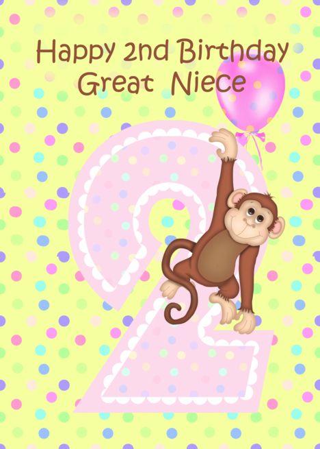 2nd Birthday Great Niece Monkey Card Ad Affiliate Great Birthday Niece Card Happy 2nd Birthday Birthday Wishes 2nd Birthday