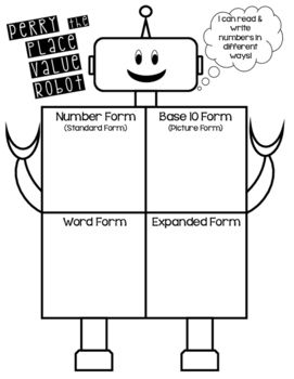 Perry The Place Value Robot Student Poster Place Values 1st