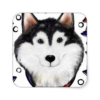 4th Of July Alaskan Malamute Square Sticker Craft Supplies Diy
