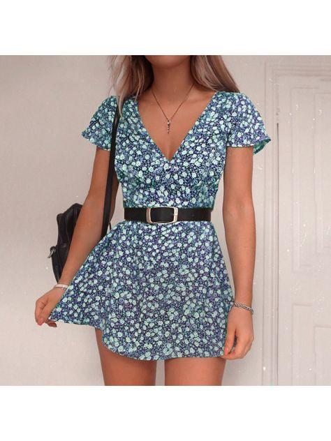 Girly Fashion Floral Print Short Sleeve Dress