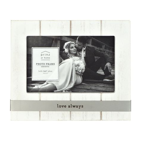 Display your favorite family photos with our Love Always picture frame and highlight the memories of special times shared with loved ones. Beautifully textured photo frame with plank detailing has a whitewashed finish and will add a touch of rustic flair to your home or office. Backloaded picture frame with clear glass secured by easy opening tabs makes inserting your photos easy. A beautiful gift to give for weddings, birthdays, or anniversaries. Frame measures 7.5W x 6.25H inch Crafted of hand