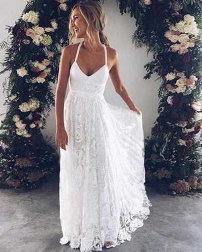 White flower lace V neck long summer beach prom dress, long open back graduation dresses | GirlsProm| Prom dresses under $100