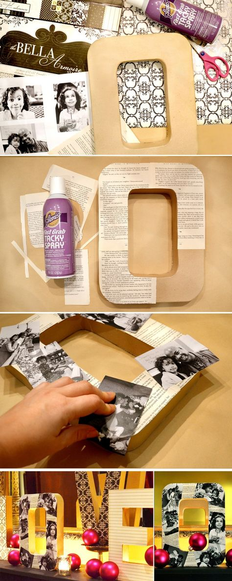 #DIY Photo Letters. Going to put all photos of both sides of the family and put these on the shelf we are building above the bed
