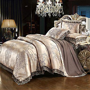 Royal Blue Luxury Duvet Cover Sets 4pc 50 Cotton 50 Satin Bed Sheet Set Jacquard Bedding Set Full Queen Bed Linens Luxury Luxury Duvet Covers Luxury Bedding